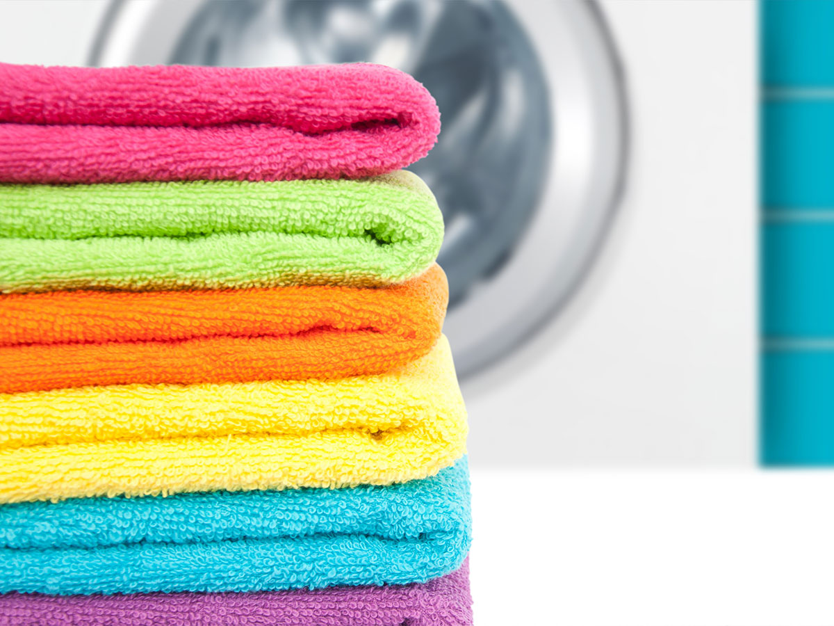 Change and launder bath mats and towels.