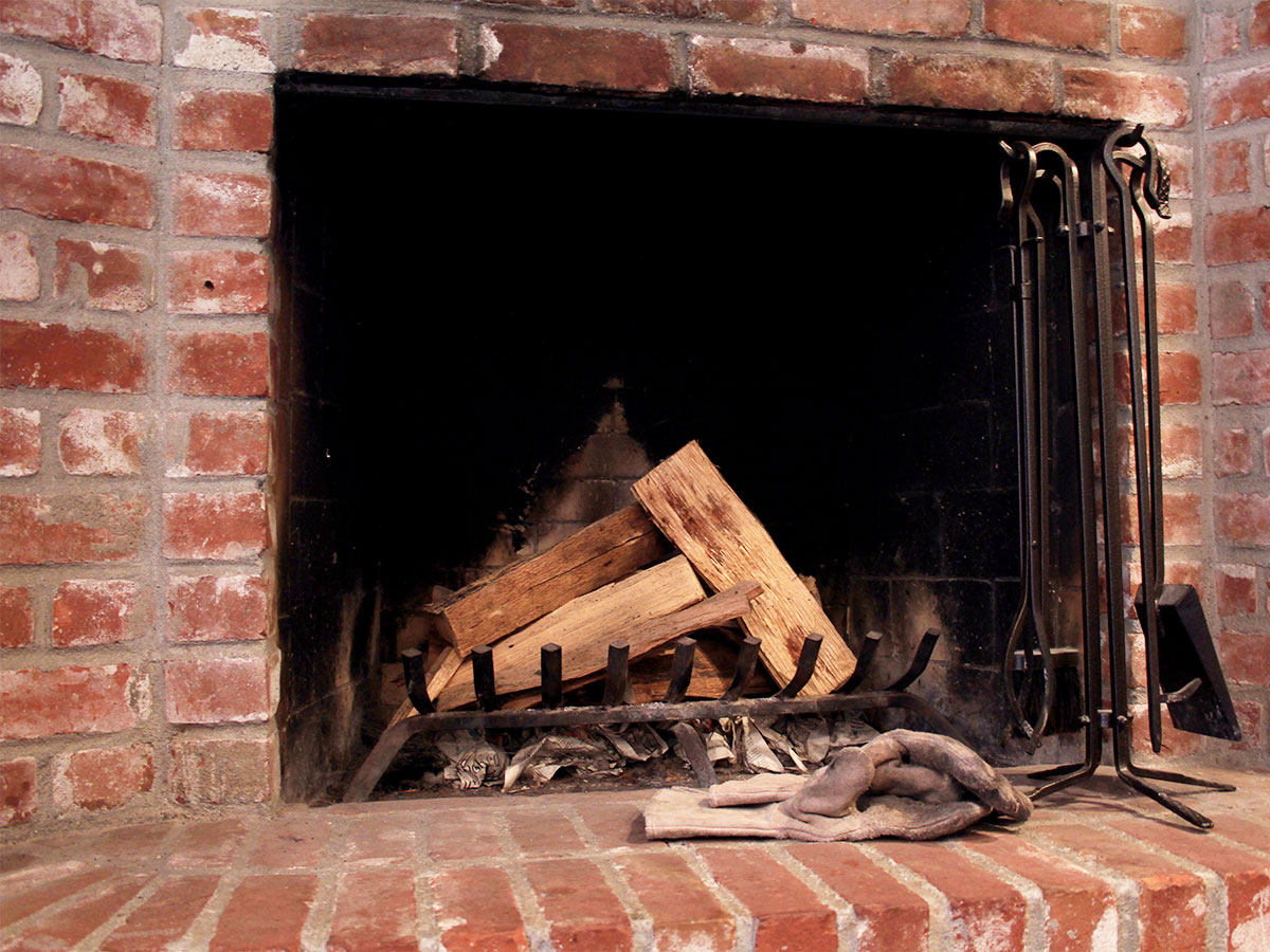 Clean wood burning fireplace and flue