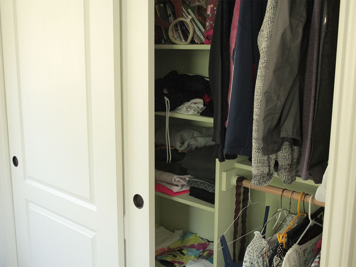 Reorganize closets giving away unwanted items