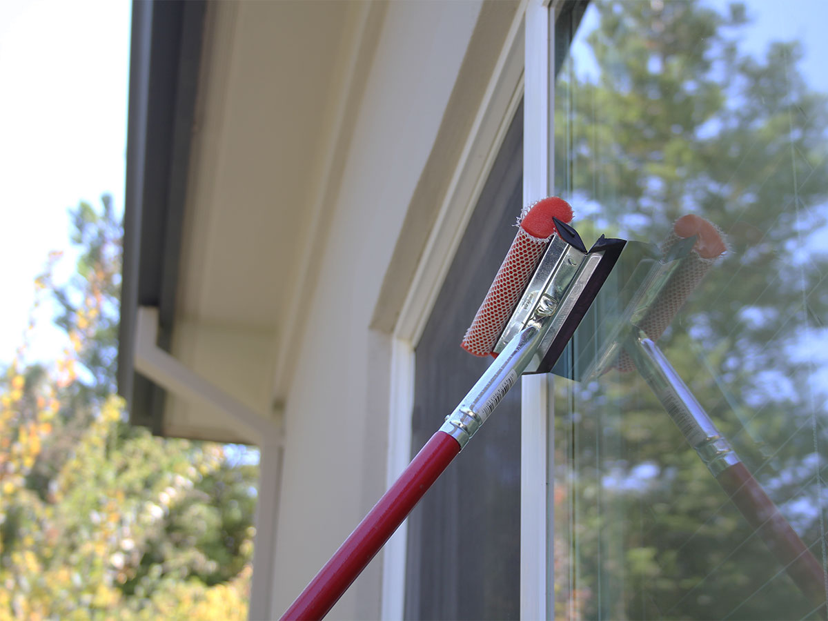 Wash exterior windows and screens